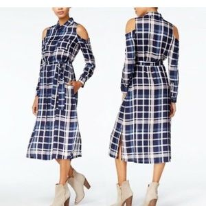 Maison Jules Plaid Cold Shoulder Shirt Dress